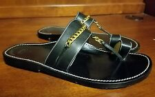 Bettye Muller Black Leather & Golden Chain Sandals Size US 6.5, EUR 37 *HANDMADE