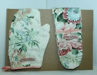 Handmade Vintage Fabric Pair Of Floral Toy Oven Gloves and Mit Set Age  1-5YRS