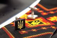 Ukrainian Kit Neck Tie Hanky Cufflinks Embroidered Tryzub Vyshyvanka Black Color