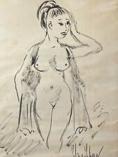 Vintage Drawing on Paper Nude Frontal of Asian Woman Signed Hirschberg