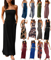 Ladies Bandeau Holiday Off Shoulder Long Dress Ladies Summer Solid Maxi Dress