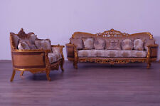 Luxury Sofa Set 2Pc & Sofa Loveseat Mahogany Wood Solid Upholstered Wooden