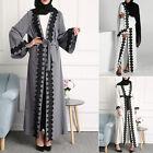 Women Dubia India Open Front Trim Abaya Jilbab Muslim Islamic Maxi Dress