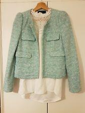 ZARA Mint Green Open Fronted Smart Jacket/Blazer Size M Studs See Description