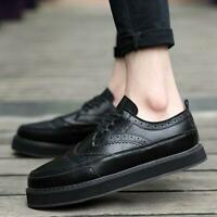 Mens Lace Up Brogue Carved Oxfords Platform Creepers Black Plus Size Shoes WET00