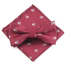 Burgundy Red White Skull Print Bow Tie Pocket Square Matching Set Formal Wedding