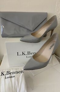 LK Bennett Patent Grey Envelope Clutch & Matching Shoes Size 4