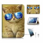 iPad Mini Flip Wallet Case Cover! S8207 Cat Glass