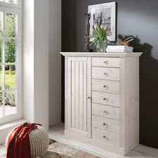 STEENS Massivholz Kommode Highboard MONACO Landhausstil Kiefer White-Wash