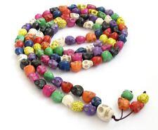 Colorful Tibetan Turquoise 108 Skull Prayer Mala Beads 13mm Necklace