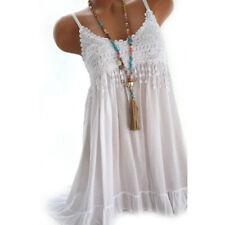 Women Summer Beach Slip Dress Lace Hollow Out Sleeveless Sundress Plus Size