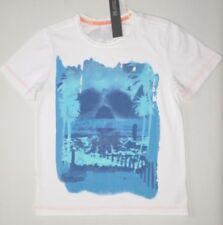 NUOVO T-shirt bambini Età 7-8 anni M&S cotone bianco design blu corto sleevetop