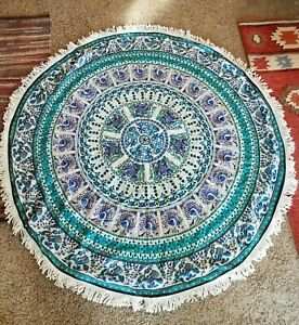 Indian Mandala Tapestry Blue Fringe Hippie Wall Hanging Rug Beach Wedding Towel