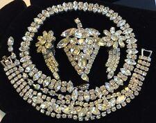 Vintage Weiss Necklace/Bracelet/Brooch/Earrings Jewelry Lot~Clear RS/Silver Tone