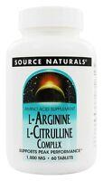 Source Naturals L-Arginine L-Citrulline Complex Peak Performance 1000 MG 60 Tab