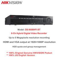 Original Hikvision DS-9008HFI-ST 5MP 8CH Hybrid DVR/8-BNC/Up to 16-IP Cam