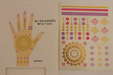 Women Temporary Fashion Tattoo Gold Fake Bling Hands Body Art Skin Party Sticker