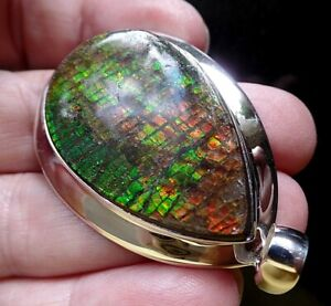 Larger Rare Iridescent Sterling Silver and Canadian Ammolite Pendant 20.2g
