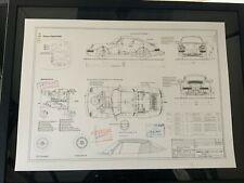 Limitierter ARTprint Porsche 964 911 Cabrio Konstruktionszeichnung
