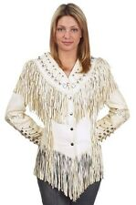 Ladies Off-White Leather Jacket w/ Beads, Studs, Bone & Fringe w/ Snaps LJ267