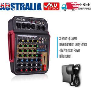 Muslady Digital 4-Channel Audio Mixer Mixing Console 48V Phantom Power BT