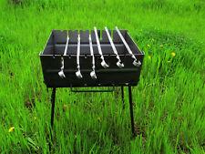 6 skewer 2 Level Mangal Schaschlik GRILL brazier barbecue case BBQ chargrill