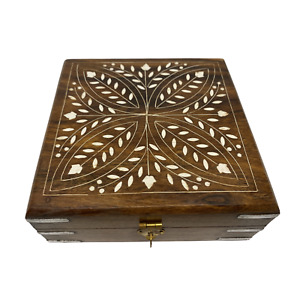 Sheesham Wood Brass Engraved Design Storage Organiser Jewellery Travel Safe Box