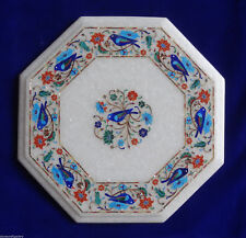 "12"" white Marble Table top semi precious stones pietra dura inlay art"