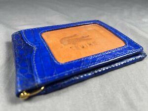 NEW PREMIUM GENUINE BLUE ALLIGATOR-CROCODILE SLIM MONEY CLIP BIFOLD WALLET 1
