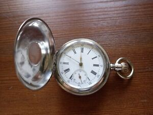 Sehr schöne,antike Taschenuhr Halb Savonette Schweiz Schneeberger 800er Silber