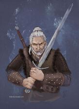 Geralt of Rivia The Witcher fanart dark fantasy Rpg Game Art Print Brandy Woods