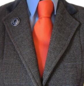100% Silk Adult Show Tie. Plain Orange