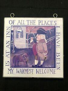 RARE NANCY THOMAS Wall Plaque At The Inn 8 x 8 2002 Folk Art Metal Frame EUC