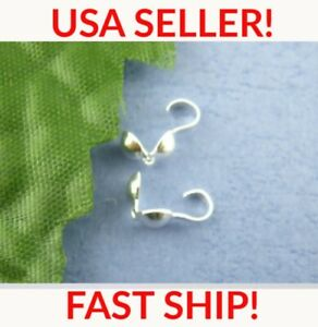 50 pcs Crimp Bead Covers with Loop Silver Plated Clamshell Calottes Knot Covers