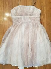 Jill Stuart short, strapless pink/silver lace dress size 0