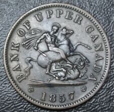 1857 BANK OF UPPER CANADA 1 PENNY COPPER-George Slaying Dragon BR719 PC-6D