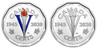🇨🇦 Canada 5 cents 1945 - two Victory Nickel coins - COLORED & Non-Colored 2020