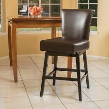 Contemporary Dark Brown Leather Swivel Counter Stool