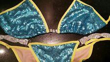 NPC/IBFF Turquoise Blue Sequin Bikini Competition Suit