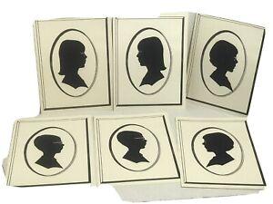 Vtg Hand Cut Paper Portrait Young Girls & Boy Silhouette Scherenshnitte 1367