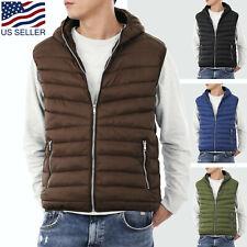 Mens Hooded Vest Padding Jacket Puffer Sleeveless Winter Lightweight Quilted