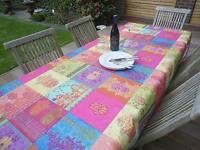 Tischdecke Provence 150x240 cm oval pink türkis aus Frankreich, pflegeleicht