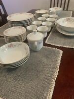 43 Piece Fine China Pink Rose Made in Japan Dinnerware