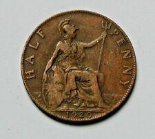 1920 UK (British) George V Coin - Half Penny (1/2d) - brown