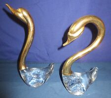 SWANS - ART GLASS AND BRASS - SET OF 2 .PAIR. MALE AND FEMALE midcentury