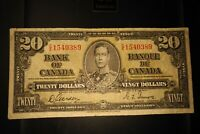 1937 $20 Dollar Bank of Canada Banknote CE1540389 F-VF