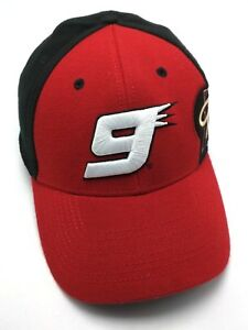 NASCAR NO. 9 / KASEY KAHNE red / black stretch-fit fitted cap / hat size M / L