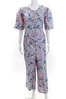 Banjanan Womens Short Sleeve Button Down Aileen Jumpsuit Pink Size XL 12236628