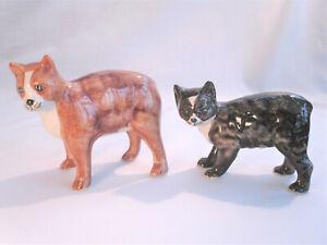 2 x RUSHTON POTTERY MANX CATS - Isle of Man vintage