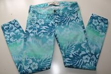 HOLLISTER- HAWAII FLORAL BLUE GREEN COTTON SLIM SKINNY CROPPED TROUSERS- W26 NEW
